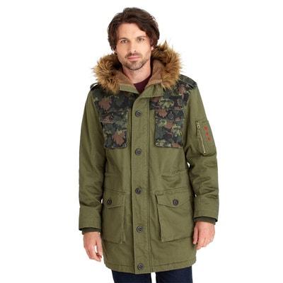 blouson manteau parka dhiver homme avec pochettes camouflages et col en fausse fourrure blouson