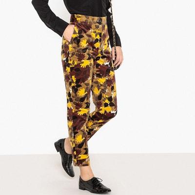 Pantalon taille haute, velours imprimé Pantalon taille haute, velours imprimé LA REDOUTE COLLECTIONS