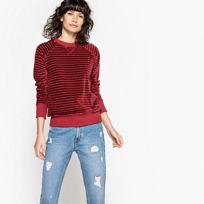 Striped Velour Sweatshirt La Redoute Collections