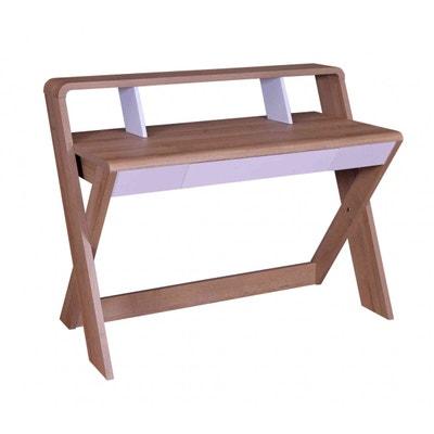 Bureau 1 tiroir en bois naturel et blanc BU4018 Bureau 1 tiroir en bois naturel et blanc BU4018 TERRE DE NUIT