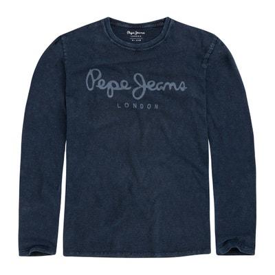 Camiseta de cuello redondo, manga larga, motivo delante Camiseta de cuello redondo, manga larga, motivo delante PEPE JEANS