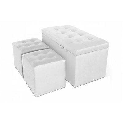 Banquette Coffre et Ses deux Poufs en simili Blanc CESAR Banquette Coffre et Ses deux Poufs en simili Blanc CESAR DECLIKDECO