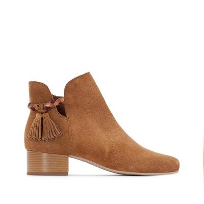 Boots pelle dettaglio pompons pianta larga 38-45 CASTALUNA