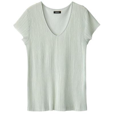 T-shirt plissé bi matière, manches courtes T-shirt plissé bi matière, manches courtes La Redoute Collections