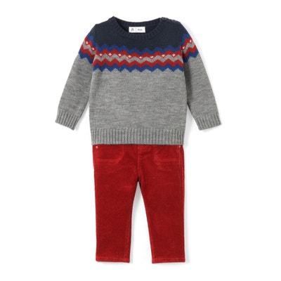 Completo 2 pezzi pull e pantaloni da 1 mese a 3 anni Completo 2 pezzi pull e pantaloni da 1 mese a 3 anni La Redoute Collections