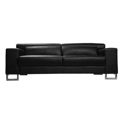 Canapé cuir design noir trois places têtières relax noir ARIZONA - Cuir de vachette MILIBOO
