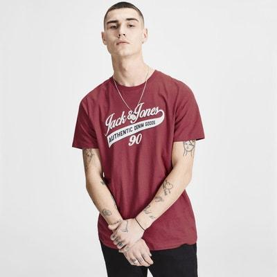 Tee shirt col rond manches courtes imprimé devant JACK   JONES 4b67ad9b35c