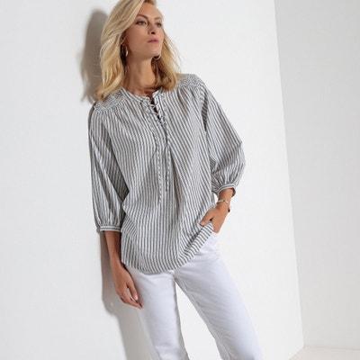 blouse rayée froisée, forme liquette, manches 3/4 ANNE WEYBURN