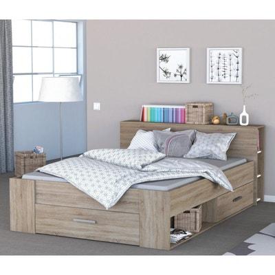 lit en bois avec tiroir imitation chne bross terre de nuit lit en bois avec - Lit 160x200