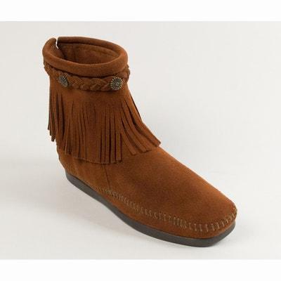 Botas em camurça com franjas e trança no tornozelo, MINNETONKA