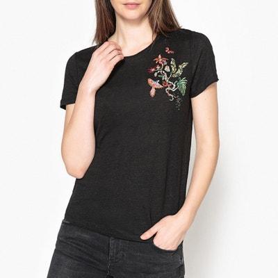 T-shirt bordada, em linho, MIMI BERENICE