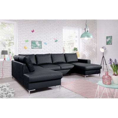 Canapé LILLY U panoramique  fixe, simili-cuir angle gauche noir BOBOCHIC