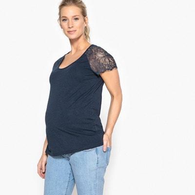Zwangerschaps T-shirt met mouwen in kant La Redoute Collections