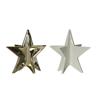Lot de 2 déco étoiles en porcelaine Lot de 2 déco étoiles en porcelaine MAISON ROUSSOT