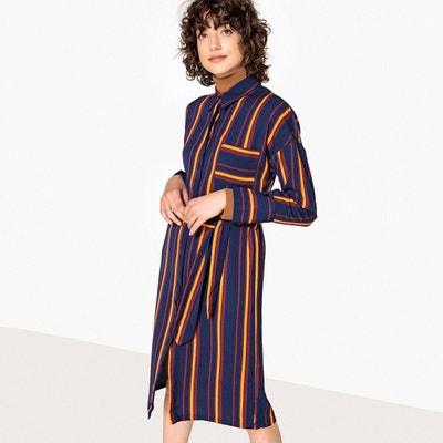 Robe chemise fluide rayée, ceinture à nouer LA REDOUTE COLLECTIONS 48b660e00dce