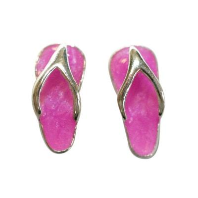 Boucles d'oreilles Tong Claquette Havaianas Rose Argent 925 Boucles d'oreilles Tong Claquette Havaianas Rose Argent 925 SO CHIC BIJOUX