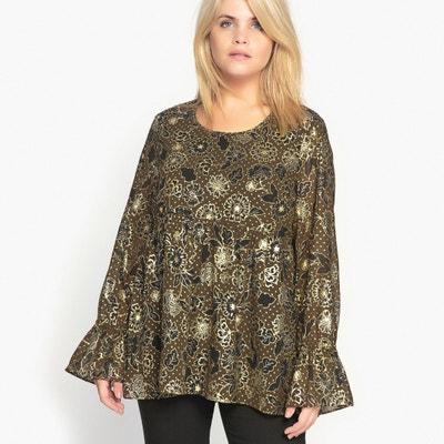 Bedruckte Bluse mit rundem Ausschnitt, lange Ärmel CASTALUNA