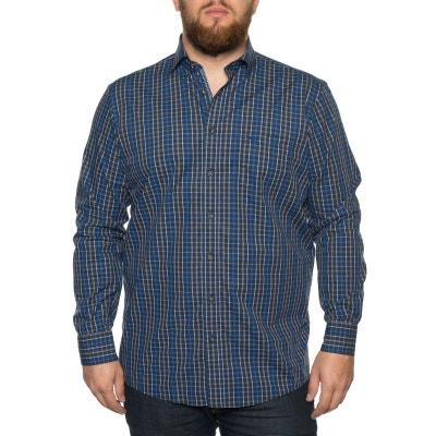 Chemise à carreaux bleu et marron. CASA MODA d8a394856d2