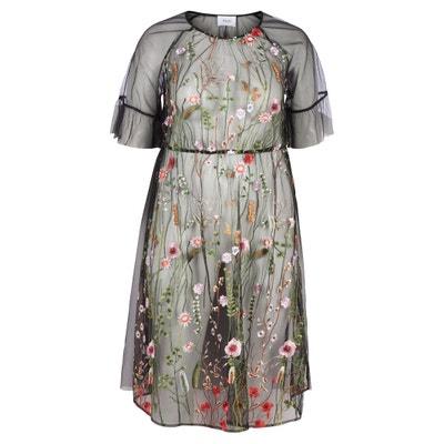 Платье расклешенное с цветочным рисунком и короткими рукавами Платье расклешенное с цветочным рисунком и короткими рукавами ZIZZI