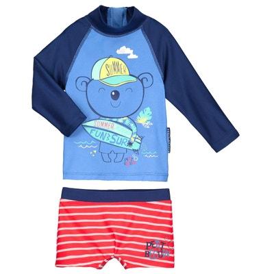 Maillot de bain ANTI-UV 2 pièces t-shirt & boxer bébé garçon Happy Summer PETIT BEGUIN