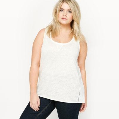 T-shirt senza maniche in due tessuti CASTALUNA