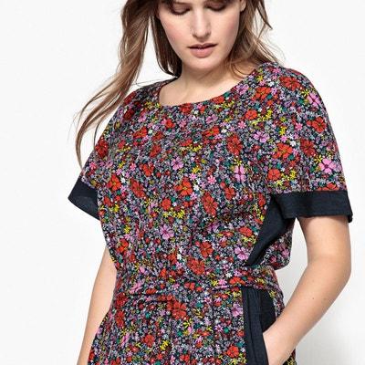 Robe droite courte imprimée fleurs manches courtes CASTALUNA