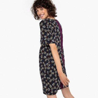 Vestido recto con estampado de flores y franja en tono a contraste Vestido recto con estampado de flores y franja en tono a contraste La Redoute Collections