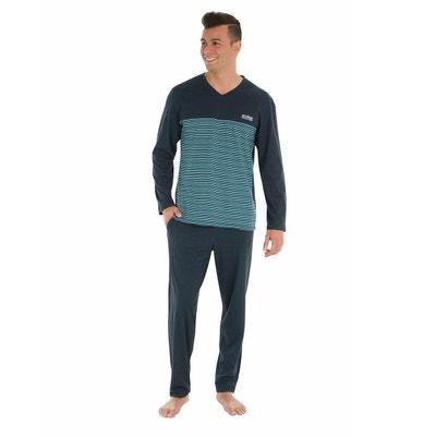 Pyjama long, coton uni et rayé Pyjama long, coton uni et rayé ATHENA
