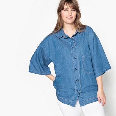 Chemise en denim bicolore, à manches courtes Chemise en denim bicolore, à manches courtes CASTALUNA