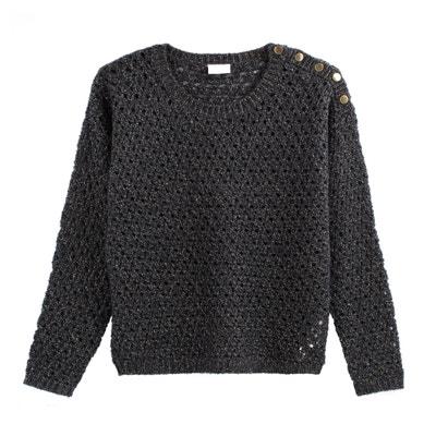 Pullover mit Ajourmuster, rundem Ausschnitt und Knopfdetail Pullover mit Ajourmuster, rundem Ausschnitt und Knopfdetail VILA