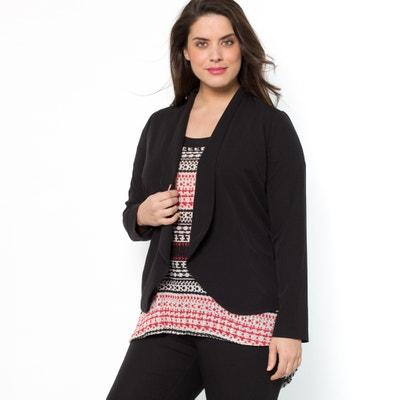 Flared Black Blazer Jacket with Shawl Collar CASTALUNA