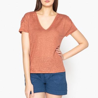 T-shirt tinta unita in lino, arricciature alle spalle JARED HARRIS WILSON