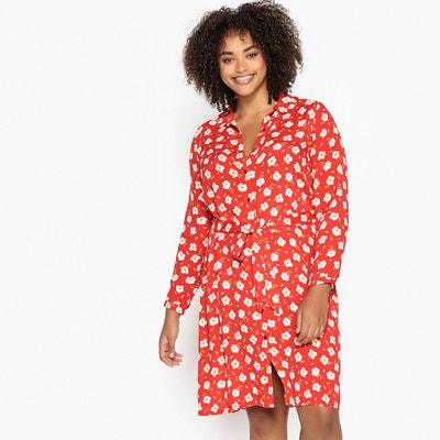 fe98183cc6b5f Robe-chemisier droite imprimé fleurs, mi-longue Robe-chemisier droite  imprimé fleurs