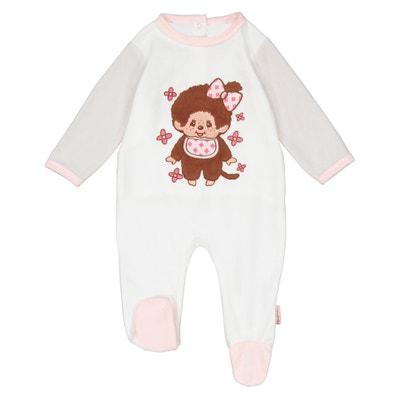 Pijama bordado de terciopelo 3 meses - 2 años Pijama bordado de terciopelo 3 meses - 2 años MONCHHICHI