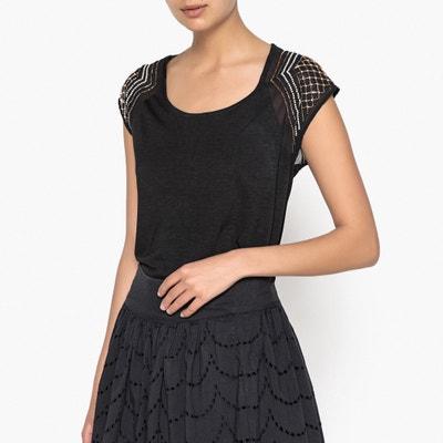 T-shirt perlé, bi-matière ANNE WEYBURN