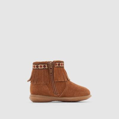 Boots cuir à franges et zippées 19-25 Boots cuir à franges et zippées 19-25 LA REDOUTE COLLECTIONS