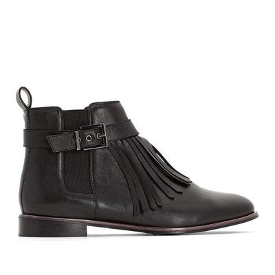 Boots en cuir à détail frange pied large 38-45 Boots en cuir à détail frange pied large 38-45 CASTALUNA