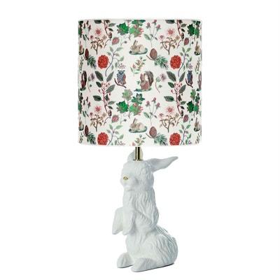 JEANNOT LAPIN - Lampe à poser Céramique Blanc & Doré et abat-jour Tissu Automne H60cm DOMESTIC