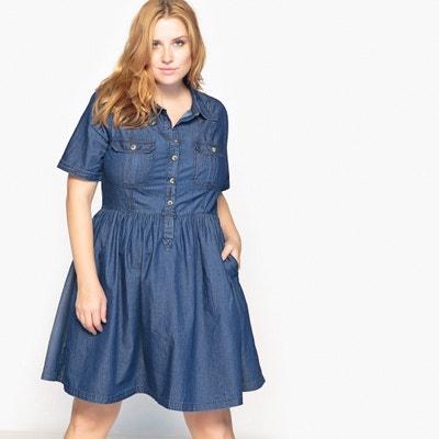 Wijde jurk in denim CASTALUNA