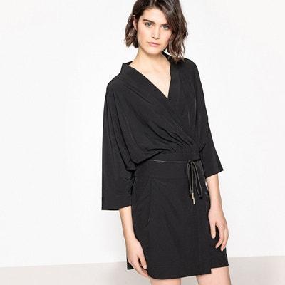 Robe portefeuille unie, manches kimono Robe portefeuille unie, manches kimono La Redoute Collections