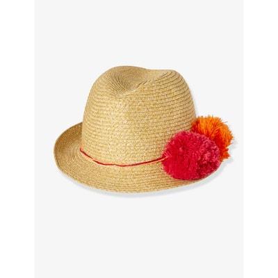 Chapeau fille style panama avec pompons VERTBAUDET