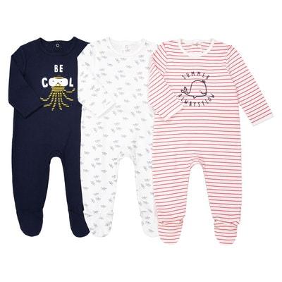 Lot de 3 pyjamas en coton 0 -3 ans La Redoute Collections