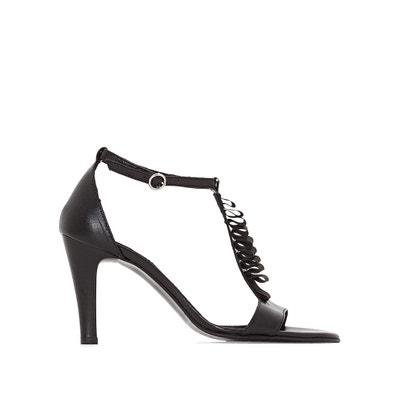 Sandaletten, Leder, hoher Absatz, Detail mit Veloursleder MADEMOISELLE R