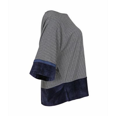 Bluse, runder Ausschnitt, Fischgratprofil, weite Ärmel Bluse, runder Ausschnitt, Fischgratprofil, weite Ärmel MAT FASHION