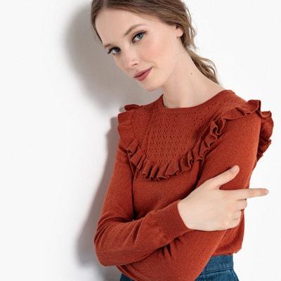 Trui met ronde hals in fijn tricot met ajour en volant Trui met ronde hals in fijn tricot met ajour en volant MADEMOISELLE R