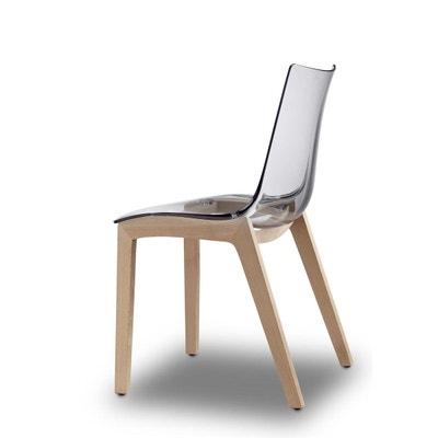 Chaise transparente design avec pieds bois - NATURAL ZEBRA Chaise transparente design avec pieds bois - NATURAL ZEBRA SCAB DESIGN