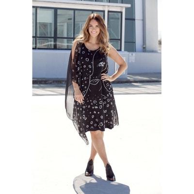 Printed Mesh Style Dress with Cold Shoulder ULLA POPKEN