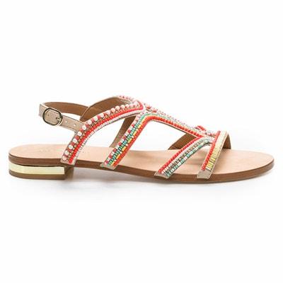 Sandales plates cuir et perles Iba COSMOPARIS