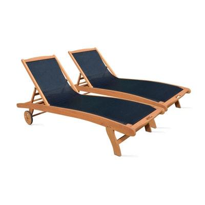 Bain de soleil en bois et textilène OVIALA