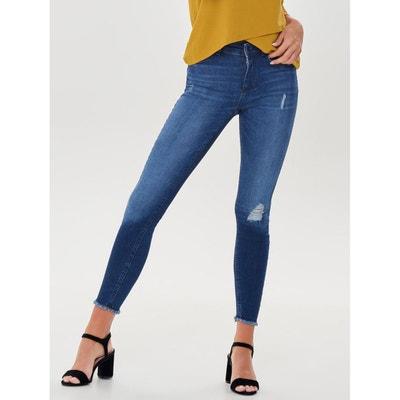 Skinny jeans met franjes onderaan, lengte 32 Skinny jeans met franjes onderaan, lengte 32 ONLY